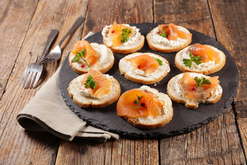 canape with smoked salmon and cheese cream