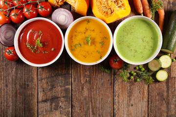 Fotobehang - vegetable soup, carrot soup- tomato soup and zucchini soup