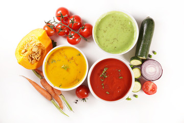 Fototapete - collection of vegetable soup with ingredient on white background