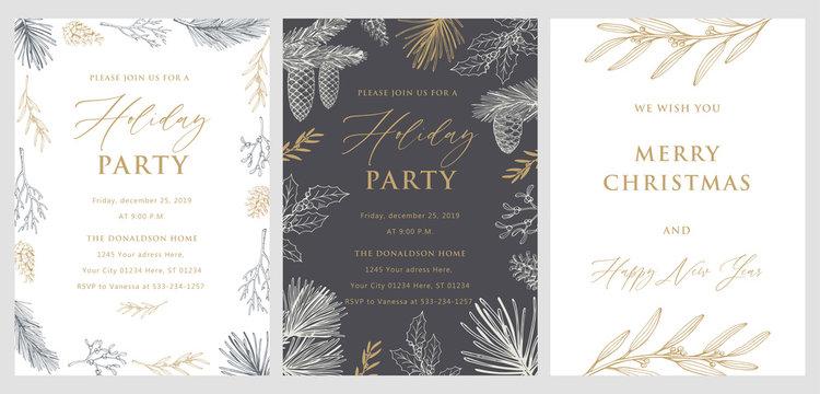 Holiday party invitation. Christmas Greeting Card. Hand drawn vector