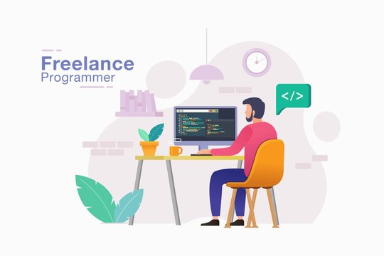 Freelancer programmer. Men freelancer in trendy style working his project remote job from home vector illustration