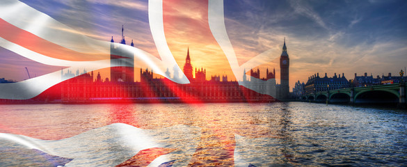 Composite image of Westminster Big Ben Union Jack Flag for Politics UK General Election 2019