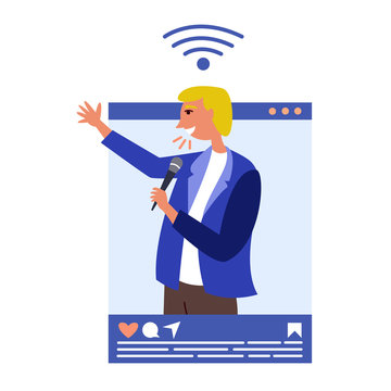 Male speaker influencer conducts training on social networks. Blogging in social networks. Blogger popular in social networks. Key opinion leader. Vector
