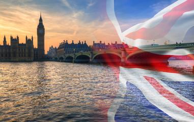 Fotobehang Londen Composite image of Westminster Big Ben Union Jack Flag for Politics UK General Election 2019
