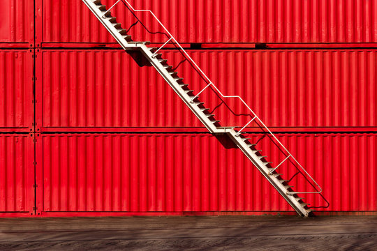 Steel white stair on red container background. Industrial