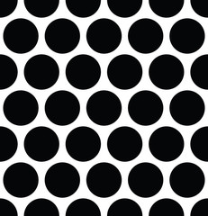 Seamless polka dot pattern in triangular arrangement. Black dots on white background. Vector illustration