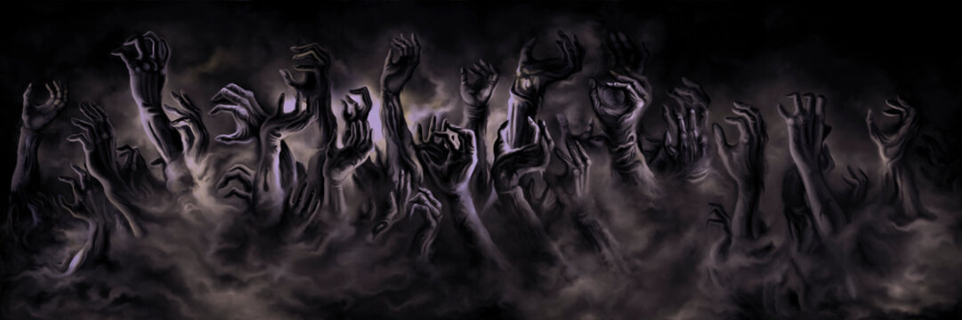 Zombie hands banner/ Illustration horror zombie hands in a mist. Digital painting