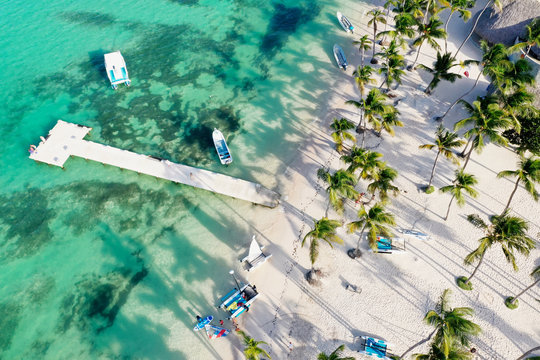 aerial of a beach resort in Punta Cana selling sports activities, caribbean island,  Dominican Republic