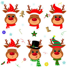 Happy New Year and Merry Christmas. Set of six cute reindeer head with different emotions in different Santa Claus hat and scarf, snowman, elf. Christmas accessories. Cartoon, flat style, vector