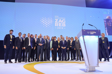 Family photo of EPP politicians during the EPP congress in Arena Zagreb hall in Zagreb