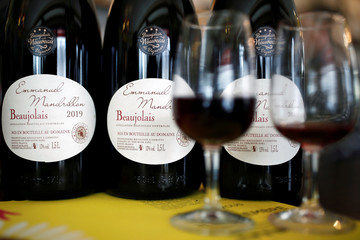 Bottles of Beaujolais Nouveau wine are pictured in a bistrot in Paris