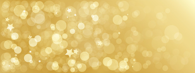 Wide gold bokeh light vector background