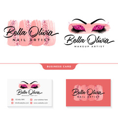 beauty makeup feminine logo collections template vector