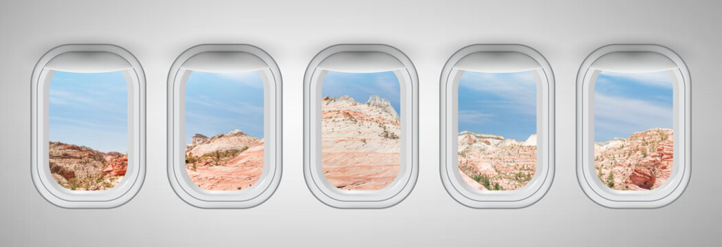 Beautiful scenic view of Zion National Park through the aircraft windows