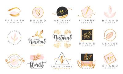 Obraz Feminine logo collections template premium vector - fototapety do salonu