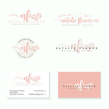 initial nf feminine logo collections template vector