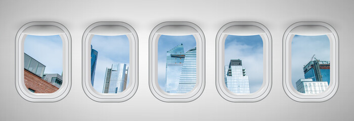 Wall Mural - Beautiful scenic city view of New York through the aircraft windows