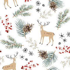 Christmas seamless pattern, white background. Forest cute deer animals, green fir, pine twigs, cones, berries, snowflakes. Vector illustration. Nature design. Season greeting. Winter Xmas holidays