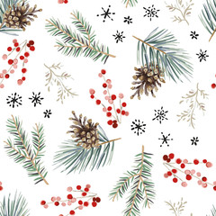 Christmas seamless pattern, white background. Forest green fir, pine twigs, cones, red berries, snowflakes. Vector illustration. Nature design. Season greeting. Winter Xmas holidays