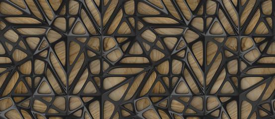 Fototapeta 3d black lattice tiles on wooden oak background obraz