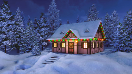 Wall Mural - Solitary snowbound half-timbered rural house decorated for Christmas among snow covered fir tree forest at winter night. With no people 3D illustration for Xmas or New Year holidays.