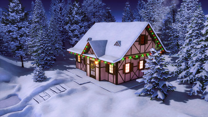 Wall Mural - Half-timbered rural house decorated with christmas lights and garlands among snowbound fir tree forest at calm winter night. Festive 3D illustration for Xmas or New Year holidays.