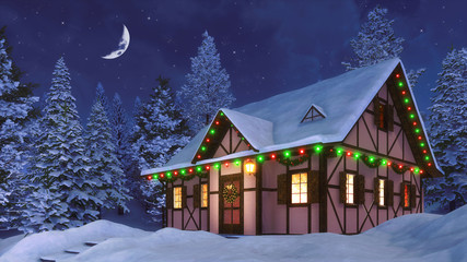 Wall Mural - Snowbound half-timbered rural house decorated for Christmas among snowy  fir forest at winter night with half moon in the starry sky. 3D illustration for Xmas or New Year holidays.