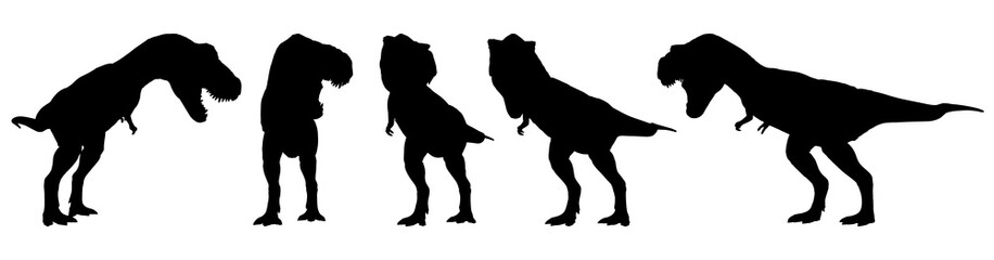 Tyrannosaurus rex ( T-rex ) is walking and snarling . Silhouette design . Set of various dinosaur posture . Vector .