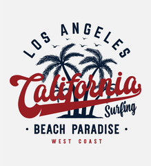 california beach typography slogan with palm tree illustration for fashion print and other uses
