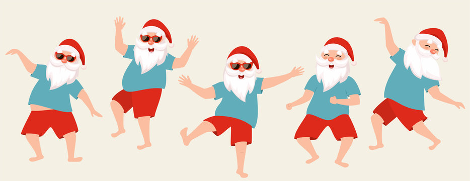 Set of dancing santas. Vector illustration for the new year in a flat style.