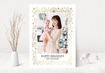 Happy Holidays Photo Card Layout with Gold Elements