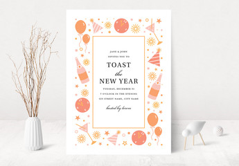 Toast the New Year Party Invitation Layout