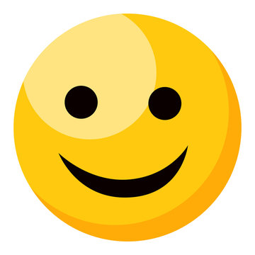 Yellow smiling happy emoji isolated on white background. Emoticon or emoticon icon. Cute and funny round face expression with black eyes and mouth for text messages flat design vector illustration