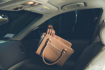 a thief steals bag in car