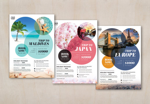Travel Flyer Layout with Circular Elements