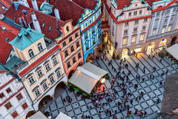 View from above on small square and old buildings in Prague.