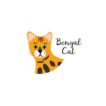 Cute portrait cartoon style of cat. Bengal breed.