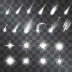 Vector silver sparkle light effect, meteorites, shooting stars. Decorative white illumination shining sources. Glistening set of flashes and highlights on transparent background for decorative purpose