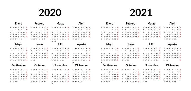Spanish calendar 2020 2021 design template. Vector stationery calender 2020, 2021 years week starts Monday, yearly organizer minimal business illustration