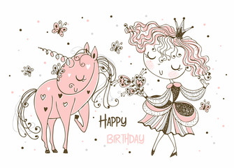 Card for birthday with a Princess and a unicorn. Vector