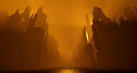 Fototapeten Braun Sci Fi city abandoned landscape. Dark street house yellow fog smoke fire. Abstract concept background. 3D rendering