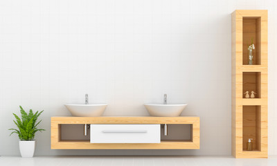 Basin on wooden shelf on wall, 3D rendering Fototapete