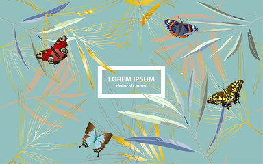 Butterfly and tropical palm leaves vector illustration. Picture with gold, blue and green colors and aquamarine background. Endless pattern. Website page.