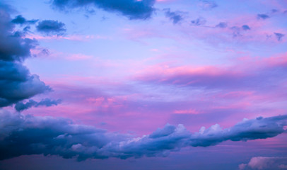 Pink-blue sunset clouds