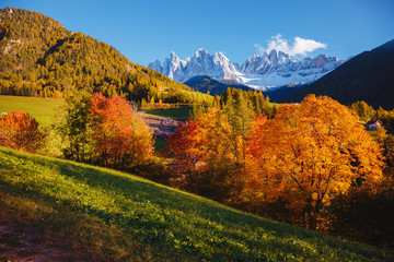 Fotomurales - Morning in St. Magdalena village. Location Val di Funes, Dolomite alps, Italy, Europe.