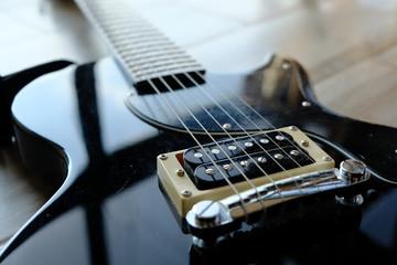 electric guitar bridge closeup