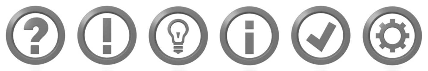 question mark exclamation point information info sign ideas light bulb symbol gear sign check mark tick icon silver gray set 3d rendering