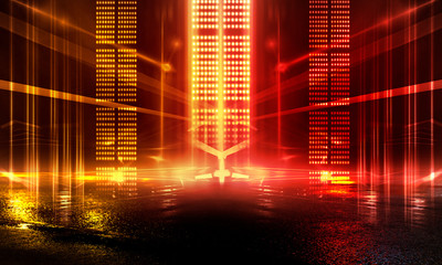 Fotomurales - Background of empty show scene. Empty dark modern abstract neon background. Glow of neon lights on an empty stage, diodes, rays and lines. Lights of the night city. Wet asphalt, yellow and red neon.