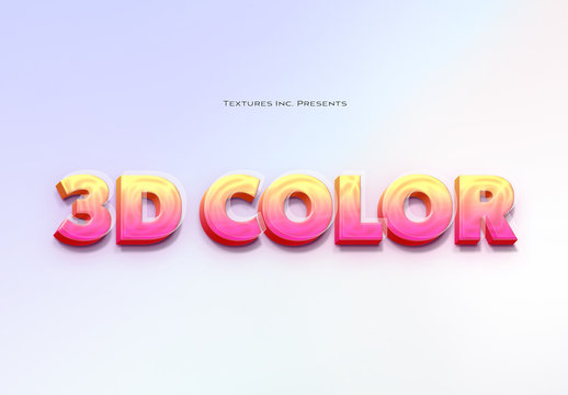 3D Colored Glass Text Effect