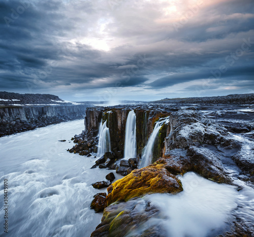 Wall mural Impressive view of famous Selfoss waterfall. Location place Vatnajokull National Park, Iceland, Europe.